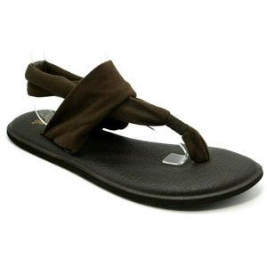 Sanuk Womens Brown Ella Yoga Sling Thong Sandals